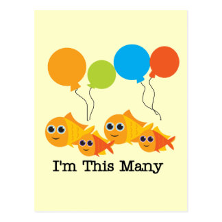 Four  Fish I'm This Many Tshirts and Gifts Postcard