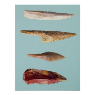 Four Flint Tools Poster