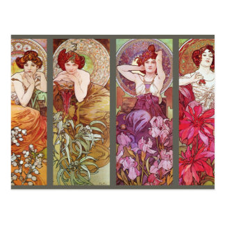 Four Floral Muchas Postcard