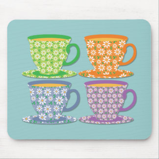 Four Flowery Tea Cups on Blue Mouse Mat