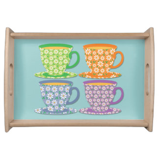 Four Flowery Tea Cups on Blue Serving Tray