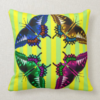 Four Flying Vector Butterflies Throw Pillow