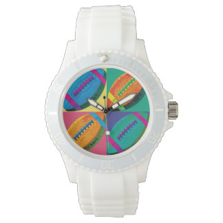Four Footballs in Different Colors Wrist Watch