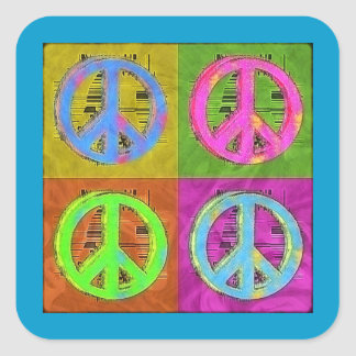 FOUR FOR PEACE SQUARE STICKER