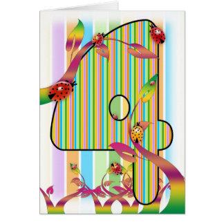 Four, fourth birthday card, 4th greeting card