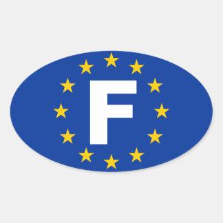 FOUR France F European Union Flag Oval Sticker