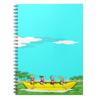 Four friendly amusing itself in a boat banana notebook