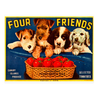 Four Friends Vintage Tomato Crate Label Dogs Post Card