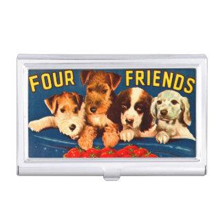 Four Friends Vintage Vegetable Ad Dogs Business Card Holder