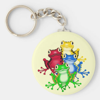Four Frogs Tshirts and Gifts Basic Round Button Key Ring