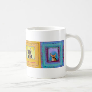 Four fun dogs - each with a suggestion coffee mugs
