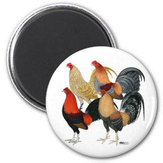 Four Gamecocks 6 Cm Round Magnet