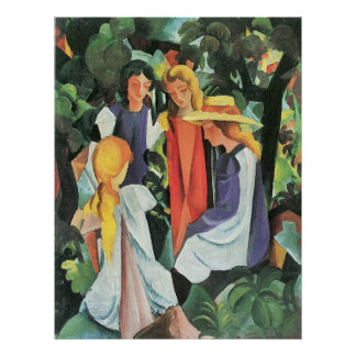 Four girls by August Macke Poster