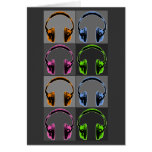 Four Graphic Headphones Greeting Card