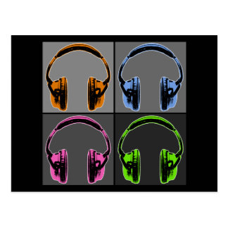 Four Graphic Headphones Postcard