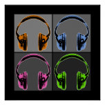 Four Graphic Headphones Poster