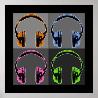 Four Graphic Headphones Poster