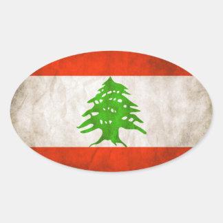 FOUR Grungy Lebanon Flag Oval Sticker