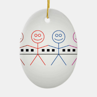 Four happy stick figures with house christmas ornament