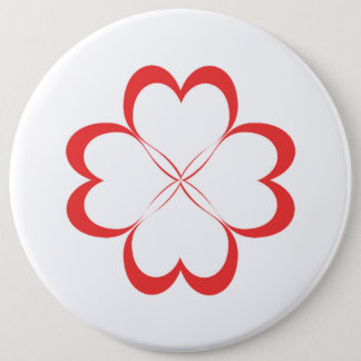 Four hearts! 6 cm round badge