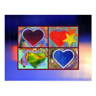 Four Hearts in an Abstract Sky postcard