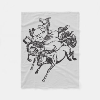 four horses fleece blanket
