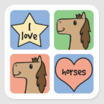 Four Horses Square Sticker