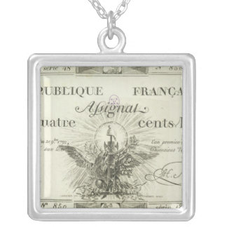 Four hundred livre banknote, 21st September 1792 Silver Plated Necklace