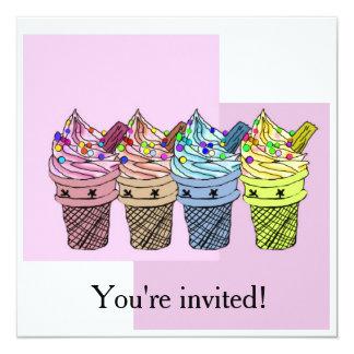 Four Ice cream Invitation