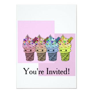 Four Ice Cream Party Invitation