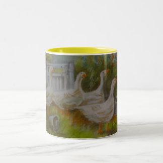 Four Irish Geese Pastel Drawing by Joanne Casey -  Two-Tone Coffee Mug