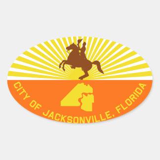 FOUR Jacksonville Flag Oval Sticker