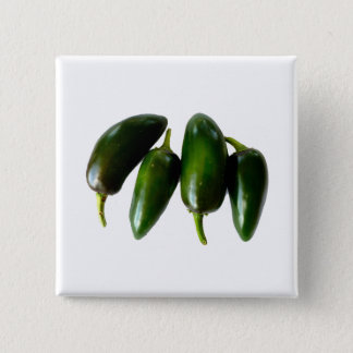 Four Jalapeno Peppers Green Photograph 15 Cm Square Badge