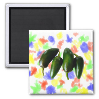 Four Jalapeno Peppers Green Photograph Magnet