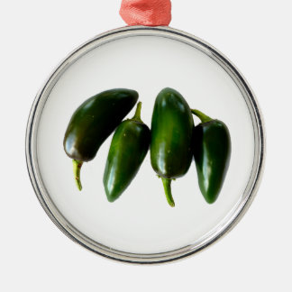 Four Jalapeno Peppers Green Photograph Silver-Colored Round Decoration