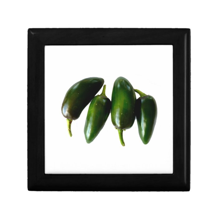 Four Jalapeno Peppers Green Photograph Small Square Gift Box