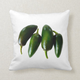 Four Jalapeno Peppers Green Photograph Throw Cushion