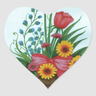 Four kinds of Beautiful Flowers Heart Sticker