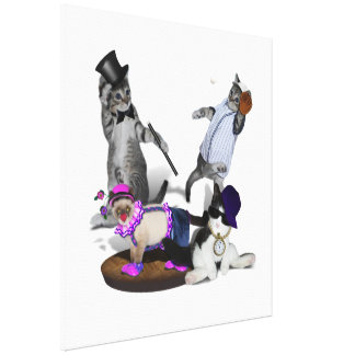 Four Kittens At Play Gallery Wrap Canvas