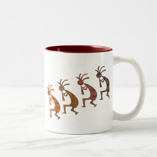 Four Kokopelli Two-Tone Coffee Mug