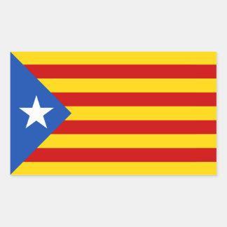 FOUR L Estelada Blava Catalan Independence Flag Rectangle Stickers