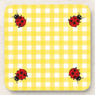 Four Ladybugs on sunny Yellow Gingham Beverage Coaster