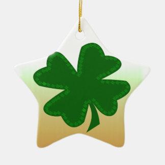 Four Leaf Clover Ceramic Star Decoration