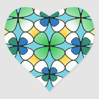 Four Leaf Clover Double Inside Blue Green White Heart Sticker