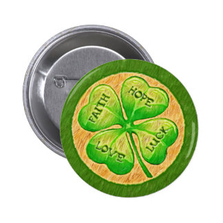 Four Leaf Clover - Faith Hope Love Luck 6 Cm Round Badge