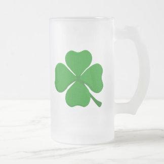 Four Leaf Clover Frosted Glass Beer Mug