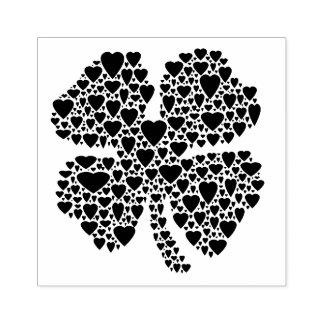 Four Leaf Clover Heart Illustration Rubber Stamp