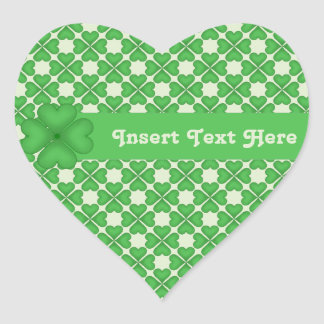 Four leaf Clover Hearts pattern Customizable Heart Sticker