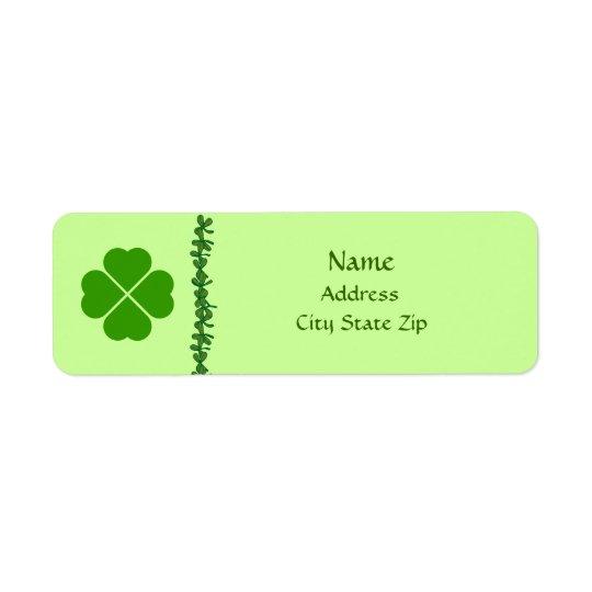 Four Leaf Clover Irish Address Labels