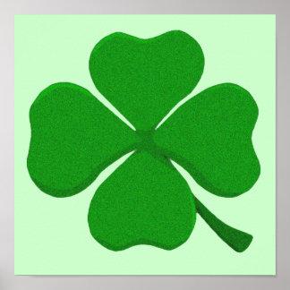 Four Leaf Clover - Irish Shamrock Poster